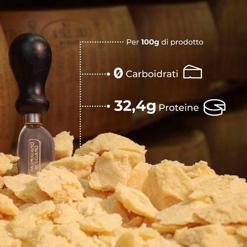 Proteine e carboidrati in 100g di Parmigiano Reggiano